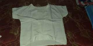 White chop blouse tee