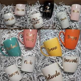 Assorted Personalised Mugs Customised Cups Housewarming Corporate Office Farewell Graduation Teachers Day Childrens Day Anniversary Couple Mug Gift Ideas Marble Mug Coloured Mug Wedding Gift Calligraphy Embossed Typography