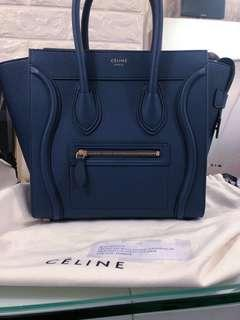 Celine micro luggage 笑臉包 深藍色marine color old logo