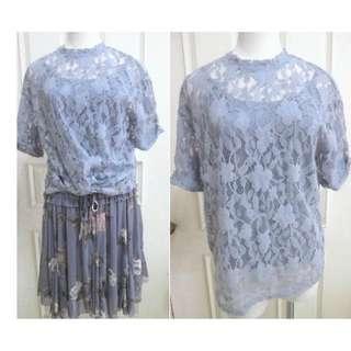 🚚 正韓 韓國 春秋款 微毛料蕾絲花 超美細緻水藍上衣 有內襯