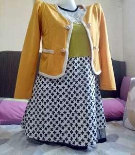 Colorful Preppy Dress with blazer