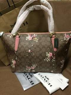 AUTHENTIC COACH AVA TOTE WITH FLORAL BUNDLE PRINT IN SIGNATURE CFO (F28965)