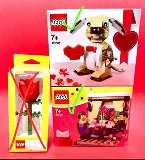 *Brand new* Lego Valentine Box Set of 2 : Cupid Doggie with heart, Vday Dining Couple