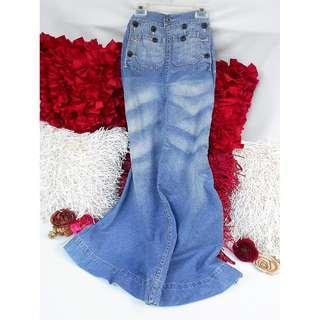 Authentic RALPH LAUREN Distressed Denim Jeans Maxi Ladies' Skirt