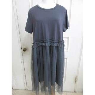 🚚 日系風格 寬鬆洋裝 寬版 網紗裙 深鐵灰