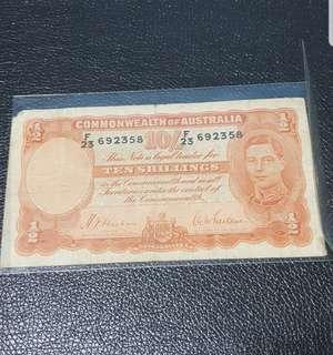 🚚 Australia KGV 10 Shilling Banknote