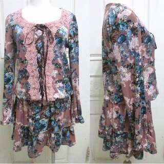 🚚 0918 長袖絨布感 玫瑰花 縮腰鬆緊長版上衣