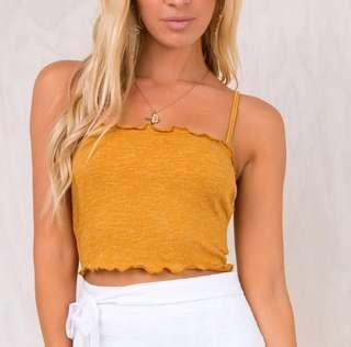 Princess Polly Maple Lane Crop Top Mustard