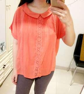 Peach Embroidery Top