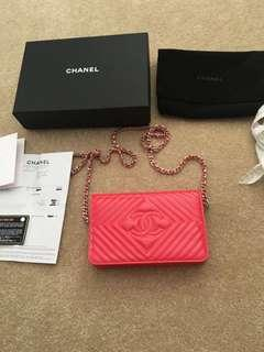 Authentic Chanel O Mini Woc Wallet On Chain Pinkish Coral Patent Leather