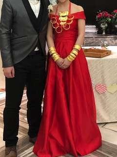 (婚後物資) 結婚 敬酒裙 紅裙 晚禮服