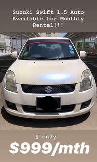 Suzuki Swift 1.5 Auto for Rent @ $999 a month