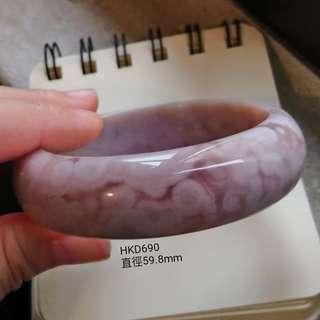 粉紫色淡雅稀有成色櫻花瑪瑙手環手鐲