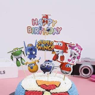 🚚 New super wings cake topper birthday cake decoration topper plane
