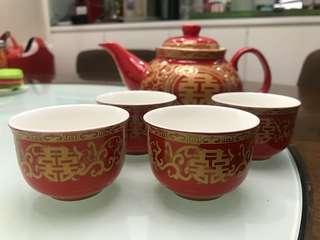 [婚後物資] 結婚用品 斟茶 茶具套裝 囍字茶壺連四個杯