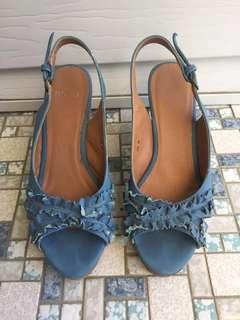 Size 36 blue cork wedged heels from novo