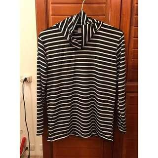 🚚 二手轉賣🉑黑白條紋高領內搭衣
