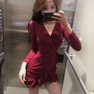 Maroon self tie robe Korean grill dress
