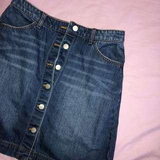 🚚 H&M denim button up down skirt