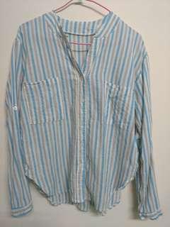 🚚 舒適好穿♡純棉微落肩淺藍色條紋薄長袖