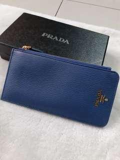 Prada card holder wallet soft leather blue