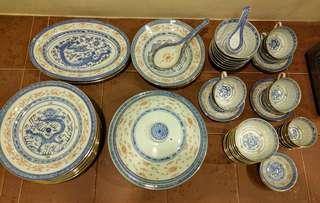Jingdezhen blue & white rice pattern dinnerware