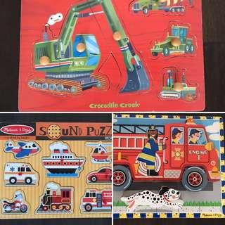 3 x Wooden puzzles - diggers & fire and rescue