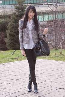Zara Tweed Grey Metallic Blazer