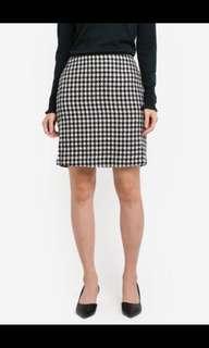 Dogstooth Print Skirt