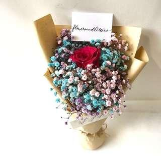 Vday Flower Bouquet 1 stalk of red/pink rose with mixed pink  + blue + purple baby's breath
