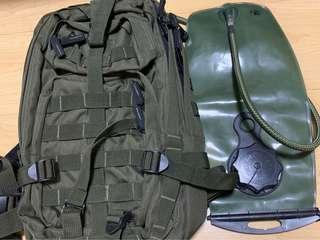 Saf green backpack 2 separate compartments with 3ltr new waterpack