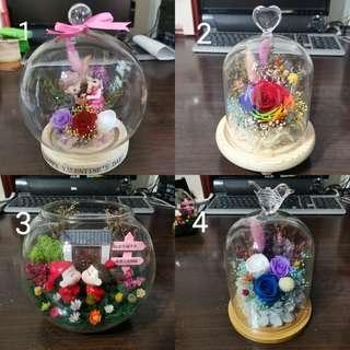 Preserved flowers in glass (Valentine's day special)