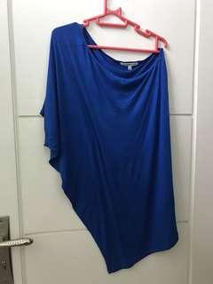 ATASAN SEMI MINI DRESS BERSHKA ELECTRIC BLUE