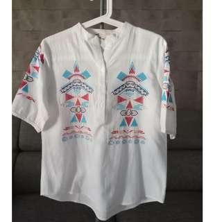 White Cotton Top With Multi-colour Embroidery