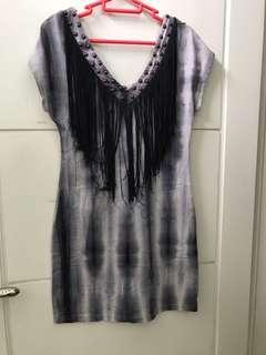 DRESS ETHNIC CUTE GREY ABSTRACT