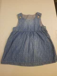 H & M Denim Dress Dotted 6-9 mos.