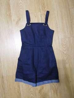 navy denim romper