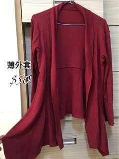🚚 長版酒紅色薄外套罩衫