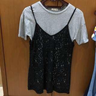 Mini Dress lace abu abu (SALE!!)