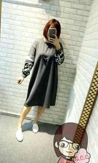 🚚 全新 豹紋長洋裝(灰)