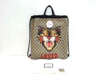 Authentic Gucci Angry Cat Soft GG Supreme Drawstring Backpack {{Only For Sale}} ** No Trade ** {{Fixed Price Non-Neg}} ** 定价 **