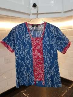 Blouse Batik Mega Mendung - Biru Pink