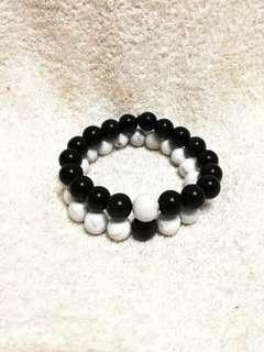 🚚 (20% Off) Natural Black Obsidian & White Howlite Bracelets 天然黑曜石+白松手链 #MakeSpaceForLove