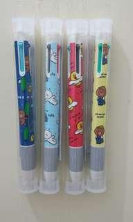 4色原子筆黑紅藍綠Line Friends brown cony sally leonard color twinpen color decopen