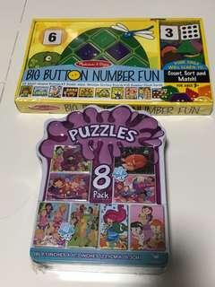 Brand new - Melissa & Doug Big Button Numbers & 8 pack puzzles