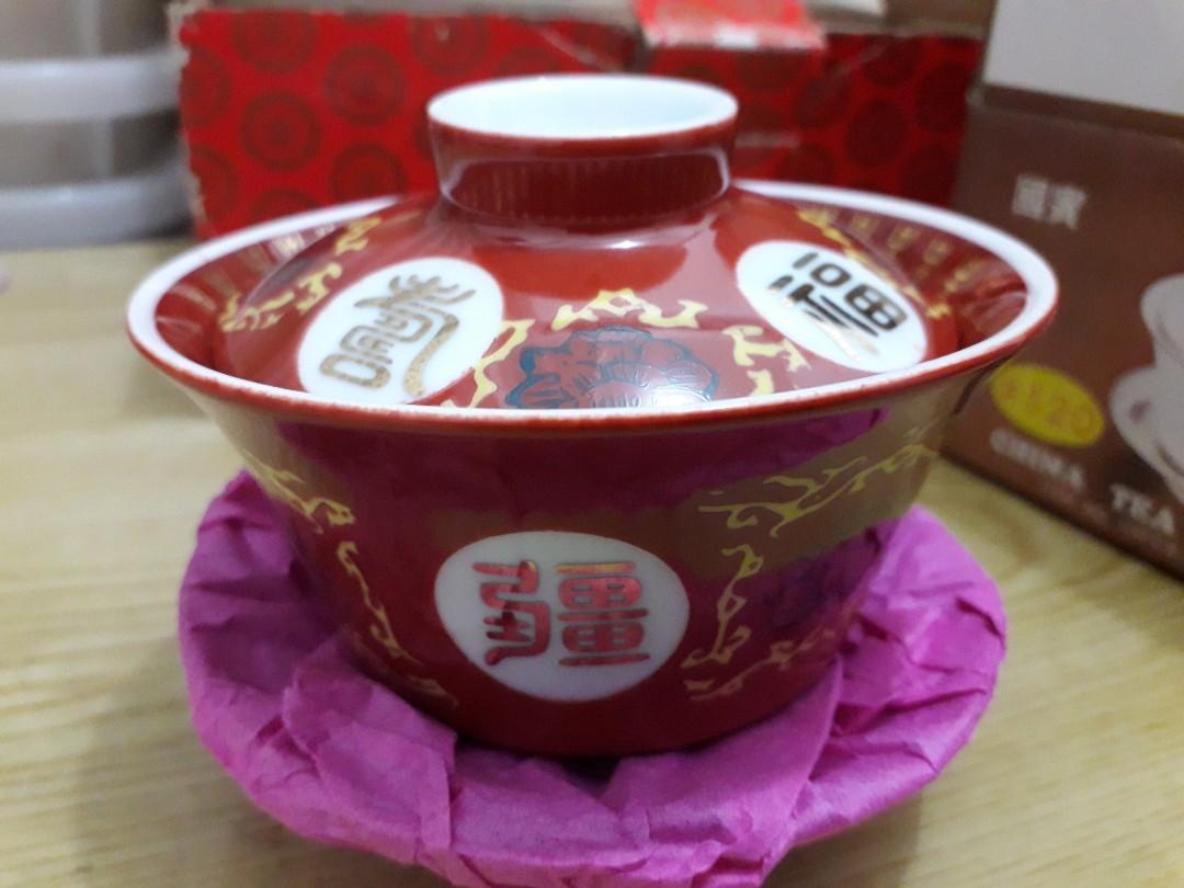 大同福壽無疆三件式茶碗、悶杯、蓋杯一組