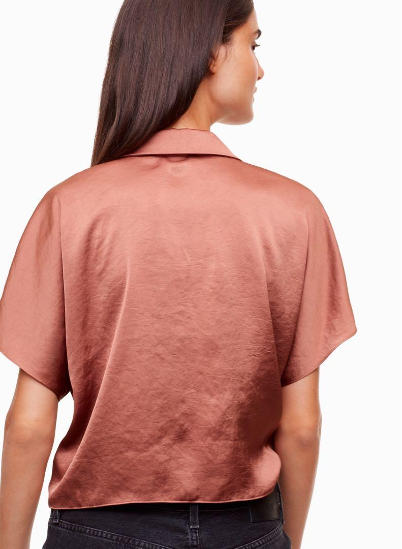 ARITZIA WILFRED FREE BURNT MAUVE HUANG BLOUSE SIZE XS