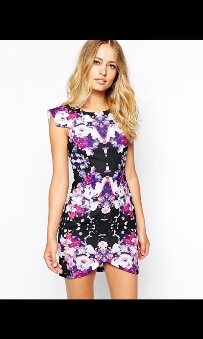 ASOS Ginger Fizz Mysterious Girl Dress In Mirror Floral Print - Black multi / UK 6 / US 2