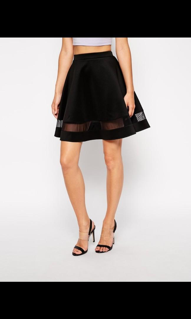 ASOS Skater Skirt In Scuba With Sheer Panel - Black / UK 6 / US 2