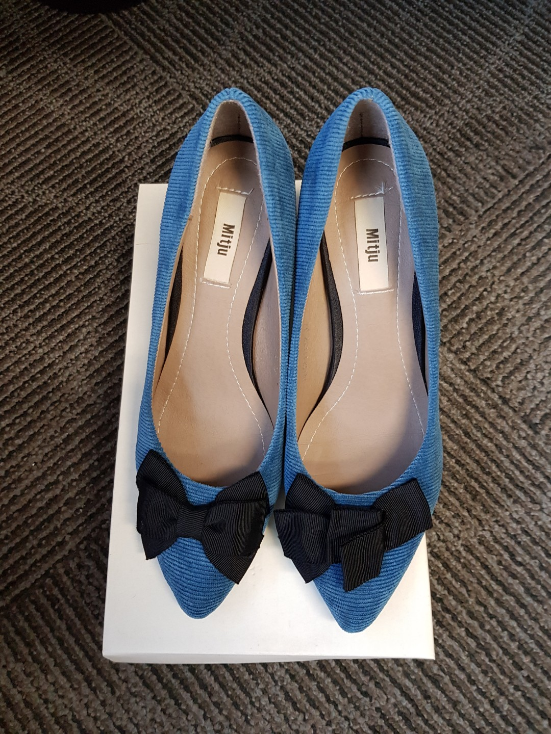 8ef58b30bb Blue Velvet Shoes with Black Bow